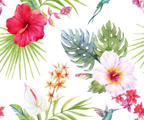 Fototapeta Watercolor tropical floral pattern