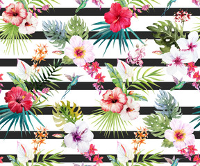 Fototapeta Egzotyczne Watercolor tropical floral pattern