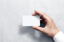 Hand Hold Blank White Card Moc...