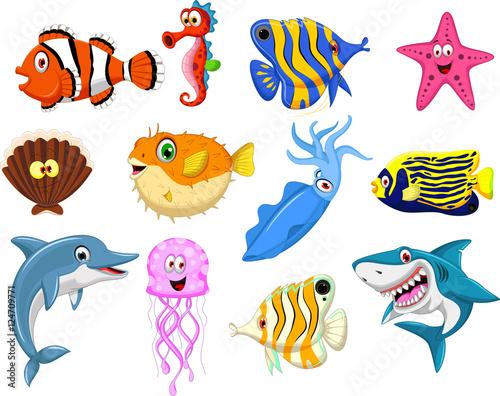 Obraz premium Zestaw kreskówka życie morskie