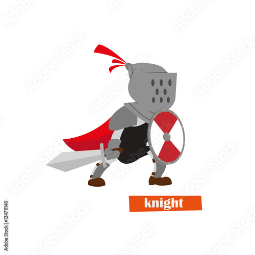 Photo  Medieval knight with shield and sword helmet.