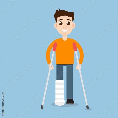 Fototapeta Man On Crutches