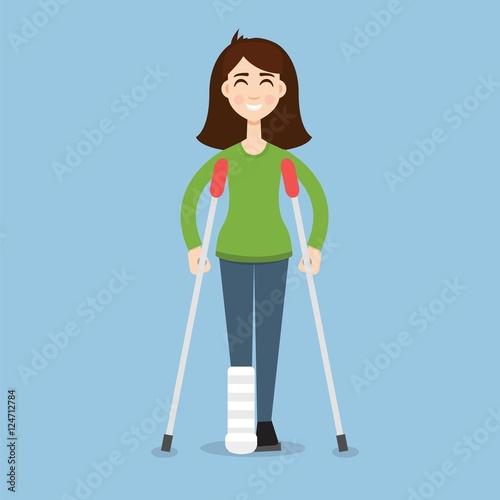 Obraz na plátně Woman On Crutches
