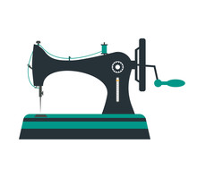 Retro Sewing Machine. Vector