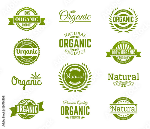 Obraz 100% organic logo. Collection of healthy organic food labels, logos, badges and signs for identity and packaging of natural, organic, premium quality products. Vector set. - fototapety do salonu