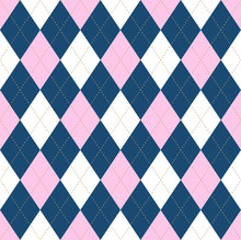 Seamless Argyle Pattern In Pale Pink, Dark Blue & White With Light Brown Stitch.