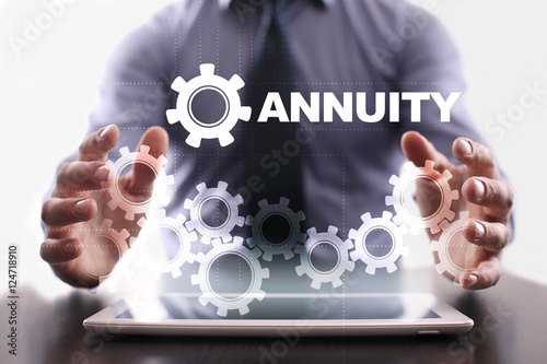 Businessman is using tablet pc and selecting annuity Wallpaper Mural