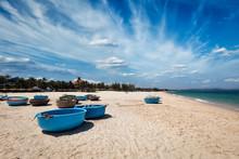 Fishing Boats On Beach. Mui Ne, Vietnam
