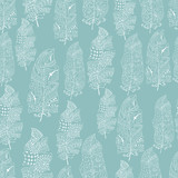 Vector seamless texture with abstract feathers. Endless background. Boho seamless pattern. Vector backdrop. Light pattern. Summer template. Use for wallpaper, web page background - 124719937
