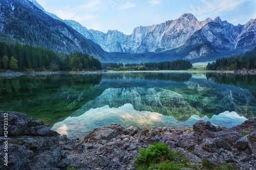 Fototapeta Early morning on the lake Fusine, Julian Alps, Italy obraz