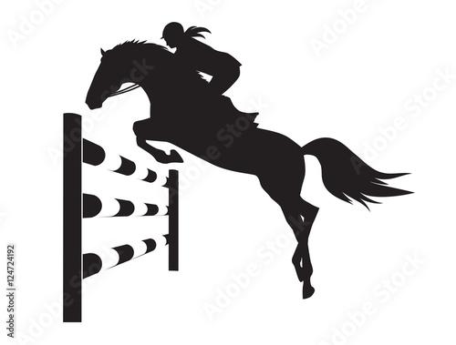 Fotografie, Obraz Equestrian competitions - vector illustration of horse