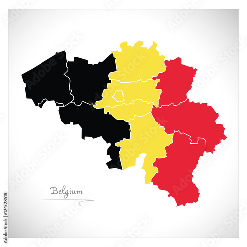 Belgium map artwork with national colours illustration Wallpaper Mural