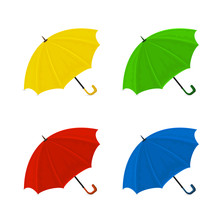Set Of Colorful Umbrellas On A White Background