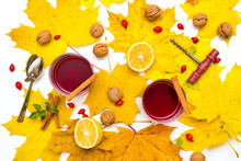 Fresh Home Made Hot Mulled Red Wine In Autumn Or Winter Style Isolated On White Background