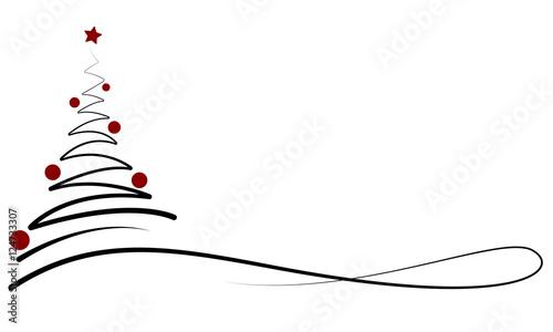 Weihnachten - Banner mit Weihnachtsbaum (Schwarz/Rot ...