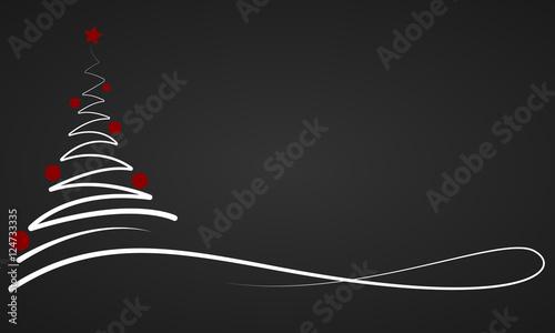 Foto-Doppelrollo - Weihnachten - Banner mit Weihnachtsbaum (Weiß/Schwarz) (von ii-graphics)