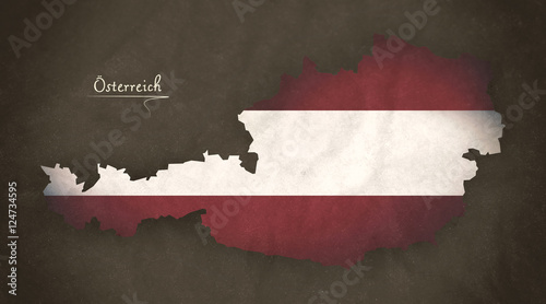 Obraz na plátně Austria map special vintage artwork style with flag illustration