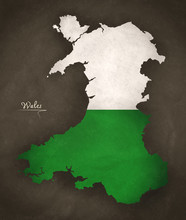 Wales Map Special Vintage Artwork Style With Flag Illustration