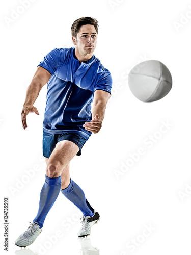 Plakat gracz rugby człowiek na białym tle