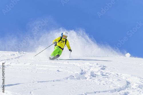 Fotobehang Wintersporten Telemark - der Kick mit der freien Ferse