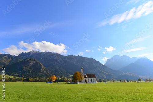 Keuken foto achterwand Wijngaard Barocke Colomanskirche bei Schwangau in Bayern