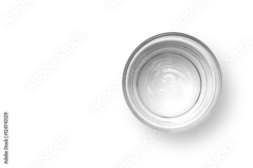 In de dag Water Cup of water on white background, Top view.