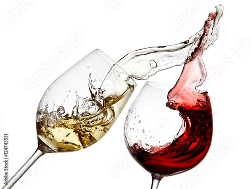 Spoed Foto op Canvas Wijn Red and white wine splash