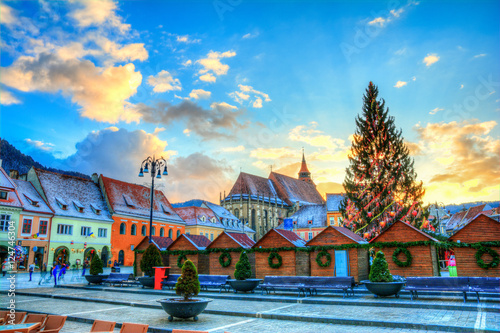 Beautiful panorama in Brasov town in Christmas market time, at sunset