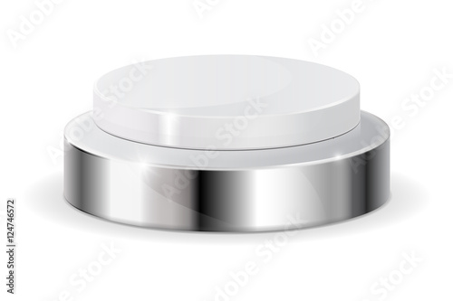 Photo  White push button with metal base