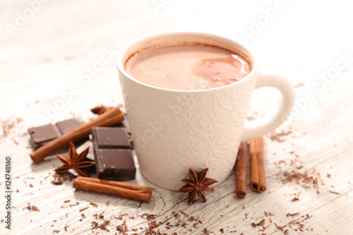 Poster Chocolade hot milk with chocolate and spice