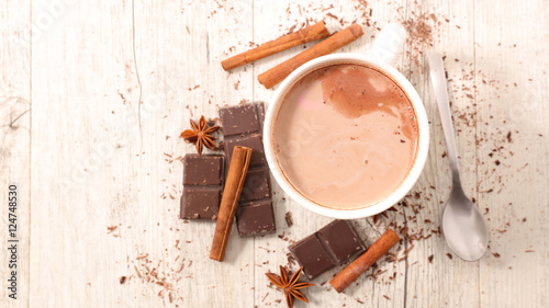 Canvas Prints Chocolate hot milk with chocolate and spice