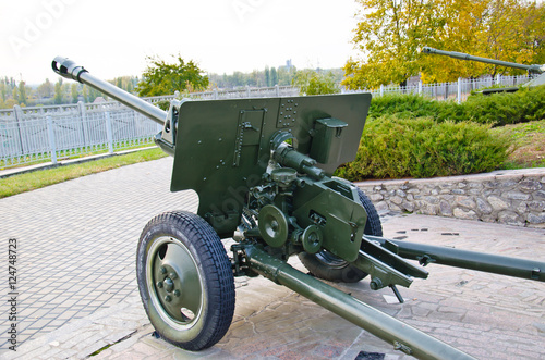 Photo  Second world war cannon in a park. Kremenchug, Ukraine