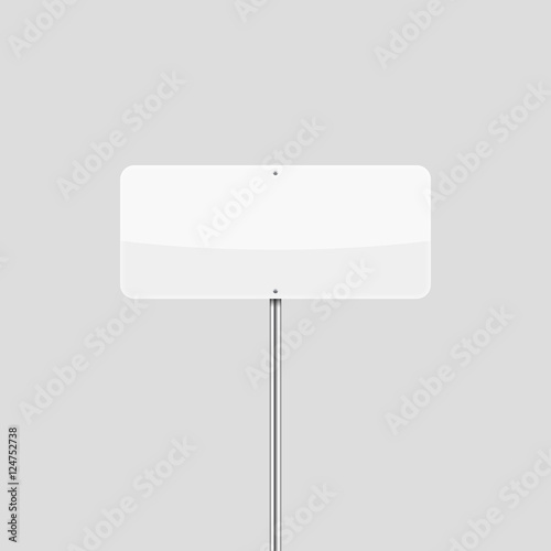 Blank white rectangular traffic sign mockup. Empty vector road sign ...