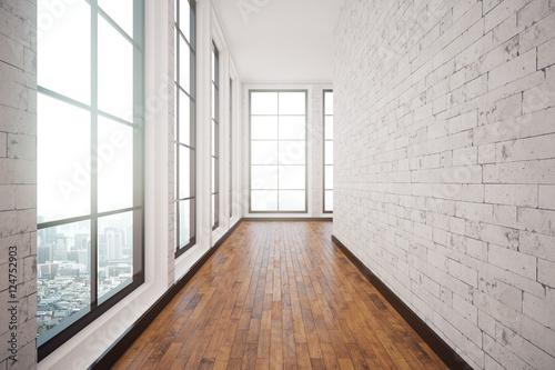 Foto  Weißer Ziegelsteinkorridorinnenraum