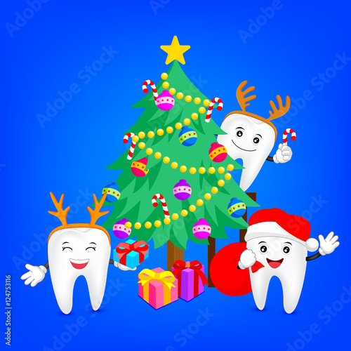 Merry christmas with happy tooth. Great for health dental care ...