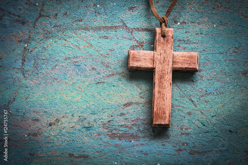 Fotografie, Obraz  Image of wooden cross on blue retro background