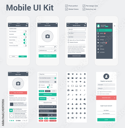 Mobile UI kit for app development, phone mockups & wireframes ...