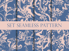Marbling Seamless Pattern Set. Watercolor Marbling Illustration. Colors: Riverside And Pale Dogwood. Drawing On The Water. Vector Illustration.