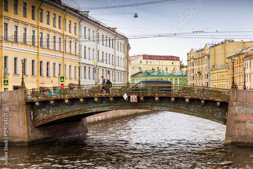 Foto op Canvas Europa View of canal and bridge in Saint Petersburg, Russia.