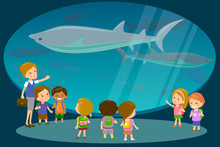 Group Of Kids Watching Sharks At Oceanaruim Aquarium Excursion With A Teacher. School Or Kindergarten Students On Filed Trip. Modern Flat Style Vector Illustration Cartoon.