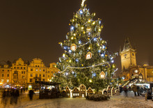 Old Town Square In Prague At Christmass Time.