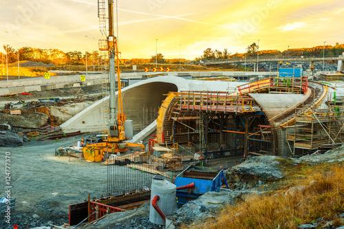 Parallel highway tunnels under construction in Stavanger, Norway. © Nightman1965
