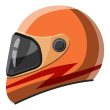 Orange Racing Helmet Icon. Isometric 3d Illustration Of Orange Racing Helmet Vector Icon For Web