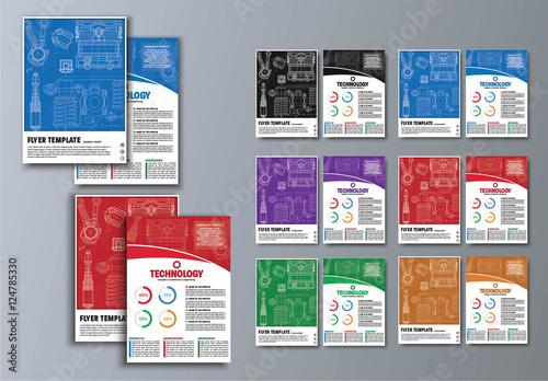 6 technical blueprint flyer layouts buy this stock template and
