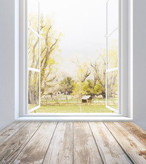 Window with summer landscape view
