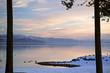 lake snow sunset