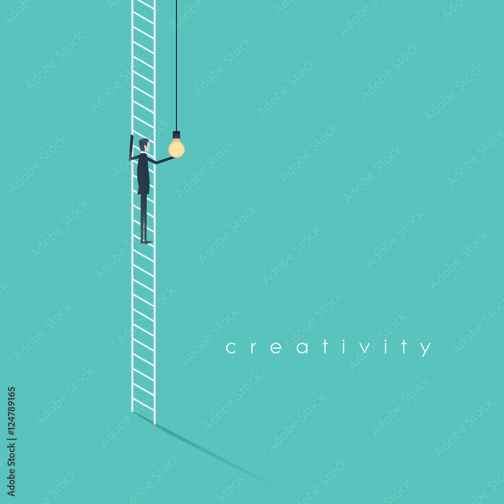 Fototapety, obrazy: Creativity business concept with businessman standing on ladder screwing in lightbulb.