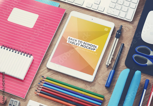 Tablet And School Supplies On Desk Mockup Buy This Stock Template