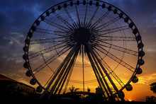 Silhouette Of Giant Ferris Wheel In Bangkok, Thailand