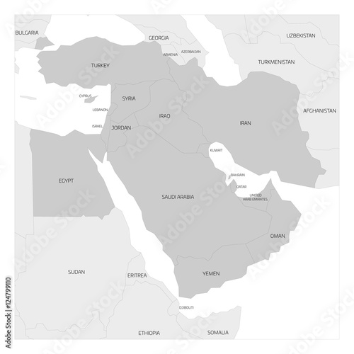 Map of Middle East or Near East transcontinental region with ...